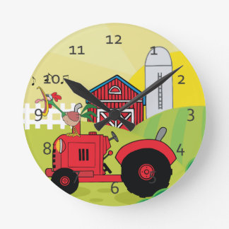 Cute Cartoon Farm Round Clock