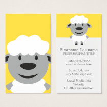 Cute Cartoon Farm Sheep - yellow and gray Business Card