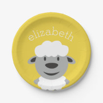 Cute Cartoon Farm Sheep - yellow and gray Paper Plate