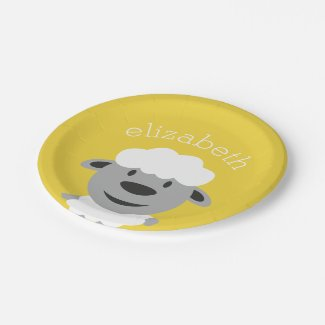 Cute Cartoon Farm Sheep - yellow and gray Paper Plate