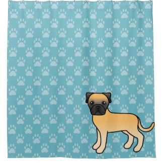 Cute Cartoon Fawn Bullmastiff Dog On Blue Shower Curtain