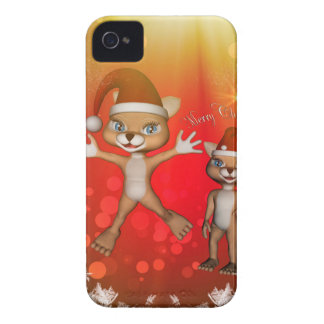 Cute cartoon figure wish you, Merry Christmas iPhone 4 Case-Mate Cases