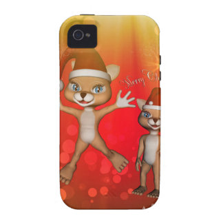 Cute cartoon figure wish you, Merry Christmas iPhone 4 Cases