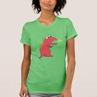Cute Cartoon Fire Breath Dinosaur Womens Shirt