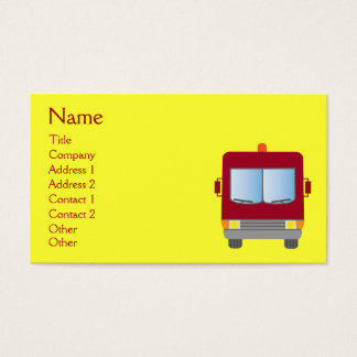 Cute Cartoon Fire Truck Yellow Custom Business Card