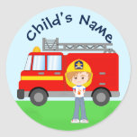 Cute Cartoon Firefighter Kid and Red Fire Truck Classic Round Sticker