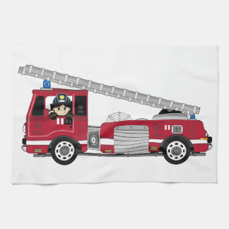 Cute Cartoon Fireman and Fire Engine Kitchen Towels
