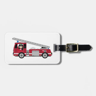 Cute Cartoon Fireman and Fire Engine Luggage Tag