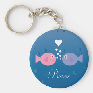 Cute Cartoon Fish Pisces Zodiac Sign Custom Keychains