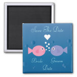Cute Cartoon Fish Save The Date Customizable 2 Inch Square Magnet