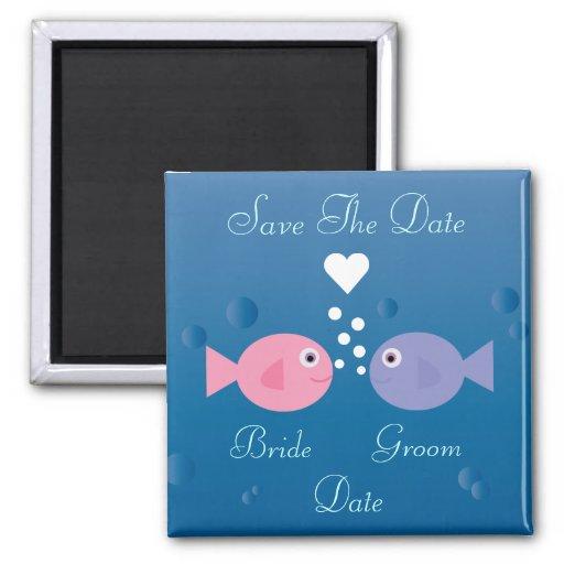 Cute Cartoon Fish Save The Date Customizable Refrigerator Magnets