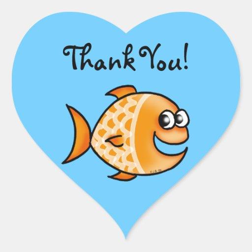 Cute Cartoon Fish Thank You Heart Sticker Zazzle