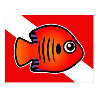 Cute Cartoon Flame Angelfish Dive Flag Postcard