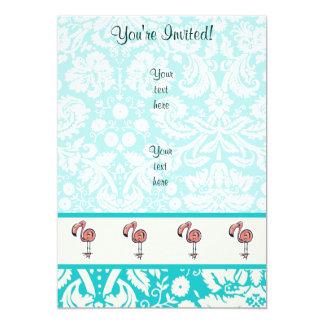 Cute Cartoon Flamingo 5x7 Paper Invitation Card