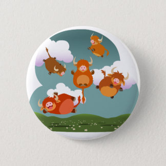 Cute Cartoon Floating Highland Cows Button Badge