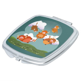Cute Cartoon Floating Highland Cows Compact Mirror
