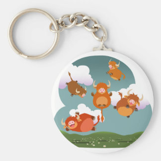 Cute Cartoon Floating Highland Cows Keychain
