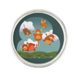 Cute Cartoon Floating Highland Cows Lapel Pin
