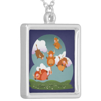 Cute Cartoon Floating Highland Cows Necklace