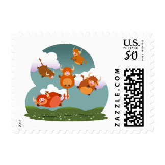 Cute Cartoon Floating Highland Cows Postage Stamp