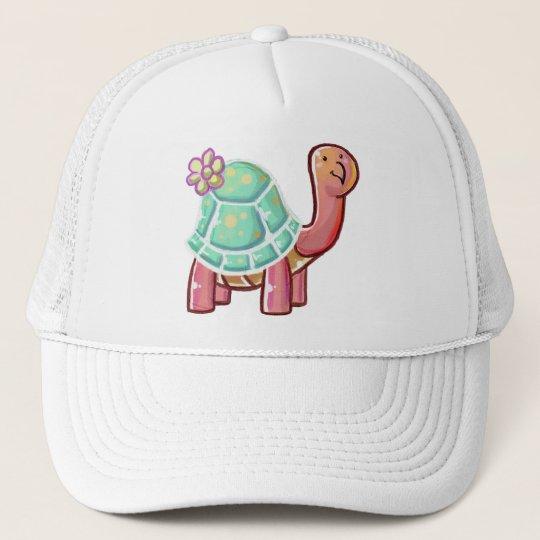 Cute Cartoon Flower Tortoise Trucker Hat