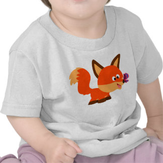 Cute Cartoon Fox  And Butterfly Baby T-Shirt