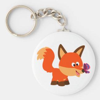 Cute Cartoon Fox  And Butterfly Keychain