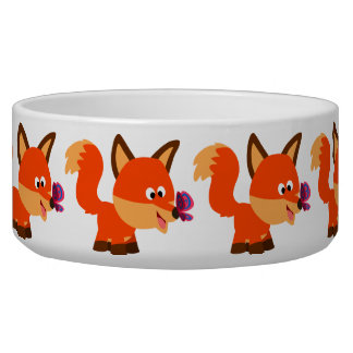 Cute Cartoon Fox  And Butterfly Pet Bowl
