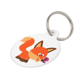 Cute Cartoon Fox And Butterfly Pet Tag