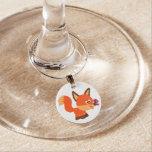 Cute Cartoon Fox And Butterfly Wine Charm