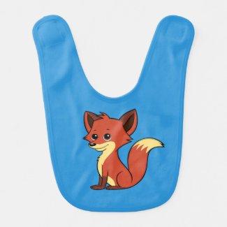 Cute Cartoon Fox Blue Baby Bib