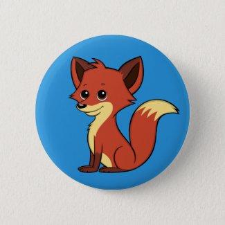 Cute Cartoon Fox Blue Button
