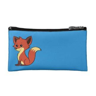 Cute Cartoon Fox Blue Cosmetic Bag