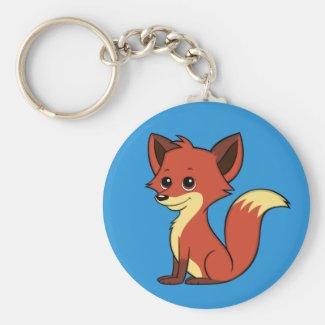 Cute Cartoon Fox Blue Keychain