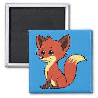 Cute Cartoon Fox Blue Magnet