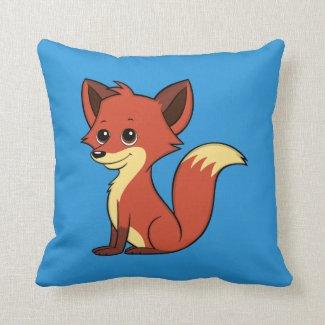Cute Cartoon Fox Blue Throw Pillow