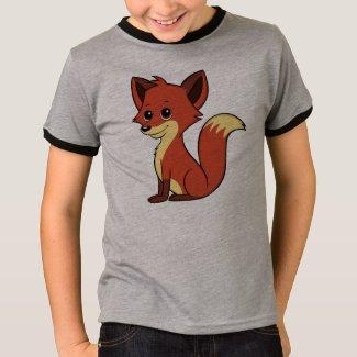 Cute Cartoon Fox Boy's Ringer T-Shirt