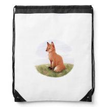 Cute Cartoon Fox Drawstring Bag