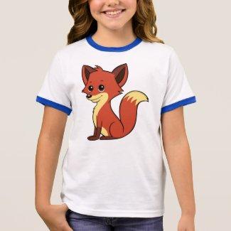 Cute Cartoon Fox Girl's Ringer T-Shirt