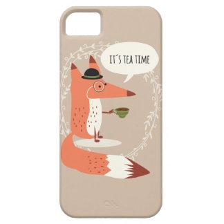 Cute cartoon fox having tea time iPhone SE/5/5s case