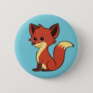 Cute Cartoon Fox Light Blue Button