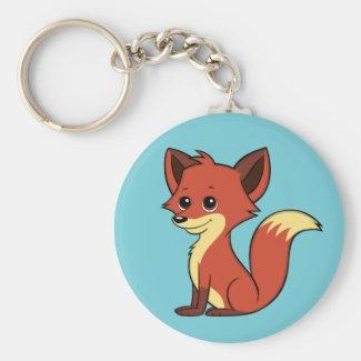 Cute Cartoon Fox Light Blue Keychain
