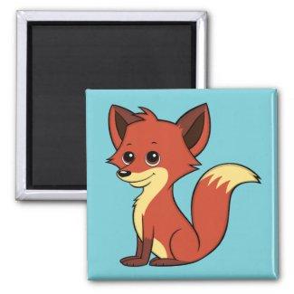 Cute Cartoon Fox Light Blue Magnet