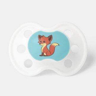 Cute Cartoon Fox Light Blue Pacifier