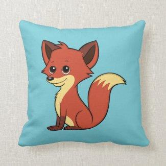 Cute Cartoon Fox Light Blue Throw Pillow
