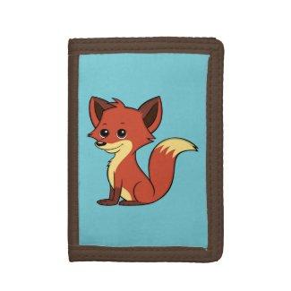 Cute Cartoon Fox Light Blue Wallet