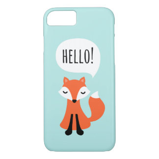 Cute cartoon fox on blue background saying hello iPhone 7 case