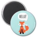 Cute cartoon fox on blue background saying hello magnet