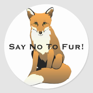 Cute Cartoon Fox Sitting On Ground Classic Round Sticker