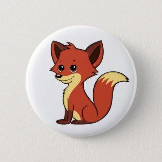 Cute Cartoon Fox White Button